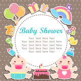 Baby boy and girl shower care with place for your text. Baby boy and girl care with place for your text, invitation cartoon care with type font ribbon frame Royalty Free Stock Photography