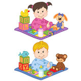 Baby boy and girl sit on the carpet with toys. Vector illustration, eps Royalty Free Stock Photo
