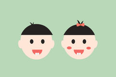Baby boy and girl smiling and show first teeth, dental cartoon vector Royalty Free Stock Image