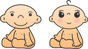 BABY BOY AND GIRL. Twin baby boy and baby girl isolated on white background - vector illustration Stock Image