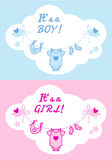 Baby boy and girl, vector background. Cute baby shower design for boy or girl, vector background Stock Photos