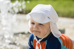 Baby Boy with Good Sun Protection on the Beach in Mexico Stock Photography