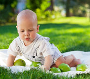 Baby boy with green apples on green grass in summer park. Royalty Free Stock Photography