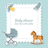 Baby boy greeting card. Baby shower. Vector Royalty Free Stock Photos