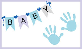 Baby boy hand prints greeting card vector Royalty Free Stock Photography