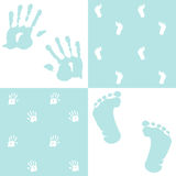 Baby boy, handprint and footprint, Royalty Free Stock Photo