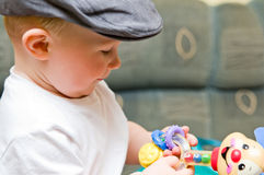Baby boy in hat Stock Photo