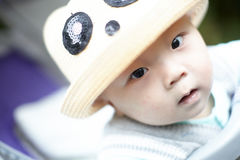 Baby boy in hat Stock Photos