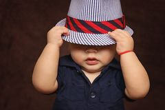 Baby, Boy, Hat, Covered, Eyes Stock Images
