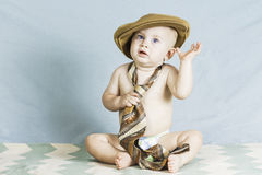 Baby Boy with Hat and Tie Stock Photo