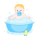Baby boy having a bath. An illustration of a cute little baby boy having  bath. child bubble bath Royalty Free Stock Photo