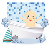 Baby boy having a bubble bath Royalty Free Stock Images