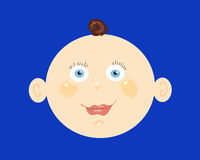 Baby boy head. Hand drawn cartoon illustration of a brunette baby boy's head on a blue back ground royalty free illustration