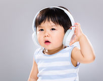 Baby boy with headset Stock Photo