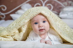 Baby boy is hiding under the white blanket. Baby looking out from under blanket Stock Photos