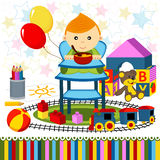 Baby boy highchair Stock Images
