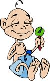 Baby boy and his rattle. Cartoon drawing of a baby boy smiling while shaking his rattle stock illustration