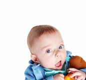 Baby boy with his toy Stock Photos