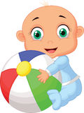 Baby boy holding colorful ball Stock Photo