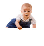 Baby boy holding a message. On white background Royalty Free Stock Photos