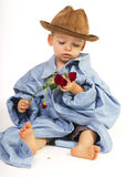 Baby Boy Holding Pretty Flower Royalty Free Stock Photo