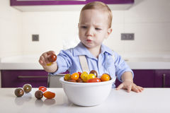 Baby boy holding a ripe colorful cherry tomatoe. Education on healthy nutrition for children concept Royalty Free Stock Photos