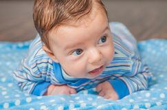Baby boy at home. Portrait of a 2 months old baby boy at his home Royalty Free Stock Image
