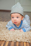 Baby boy at home. Portrait of a 2 months old baby boy at his home Royalty Free Stock Photography