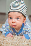 Baby boy at home. Portrait of a 2 months old baby boy at his home Stock Photography