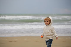 Baby boy in hooded coat Royalty Free Stock Photography