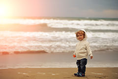 Baby boy in hooded coat Stock Photography