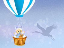 Baby boy on hot air balloon Royalty Free Stock Photo