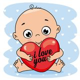 Baby boy hugging a heart. With message I love you stock illustration