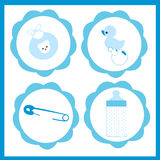 Baby boy icon set vector greeting card Royalty Free Stock Photos
