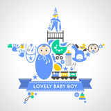 Baby boy icons collection set in form of star Royalty Free Stock Images