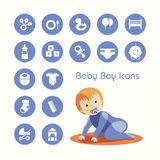 Baby boy and icons set Royalty Free Stock Photo