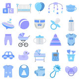 Baby boy icons set. Vector illustration. Stock Images