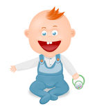 Baby boy. Illustration of a smiling little boy at play Royalty Free Stock Photography