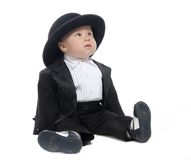 Baby Boy In Tuxedo And Hat Royalty Free Stock Photography