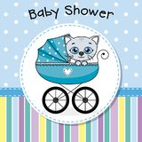 Baby boy inside baby carriage Stock Image