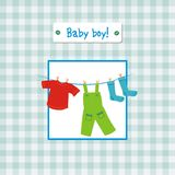 Baby boy invitation. Baby boy anniversary invitation card Stock Photos