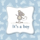 Baby boy  invitation for baby shower Stock Image