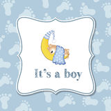 Baby boy invitation for baby shower. Vector format stock illustration