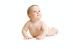 Baby boy isolated lying Stock Photography