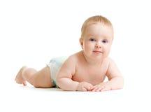 Baby boy isolated lying isolated. On white royalty free stock photo