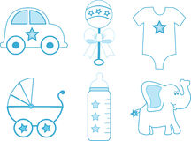 Baby Boy Items. Illustration of a group of baby boy items in blue and white Royalty Free Stock Photo