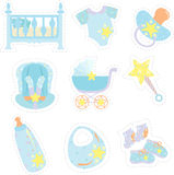 Baby boy items icons Royalty Free Stock Image
