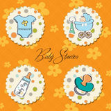 Baby boy items set Royalty Free Stock Image