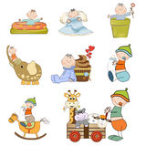 Baby boy items set Stock Image
