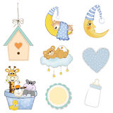 Baby boy items set in vector format Royalty Free Stock Photo